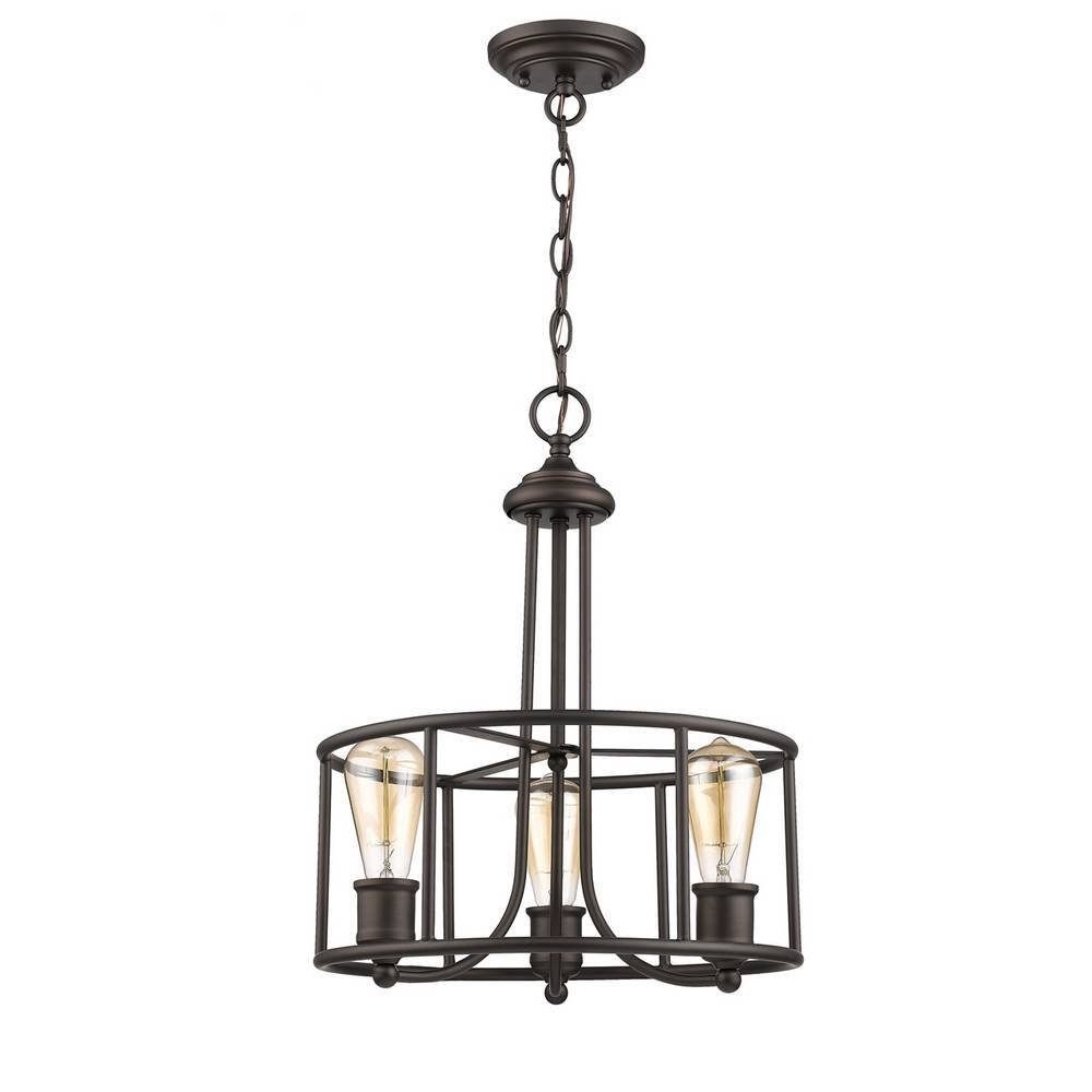 Industrial Oil Rubbed Bronze Cage Drum Hanging Light