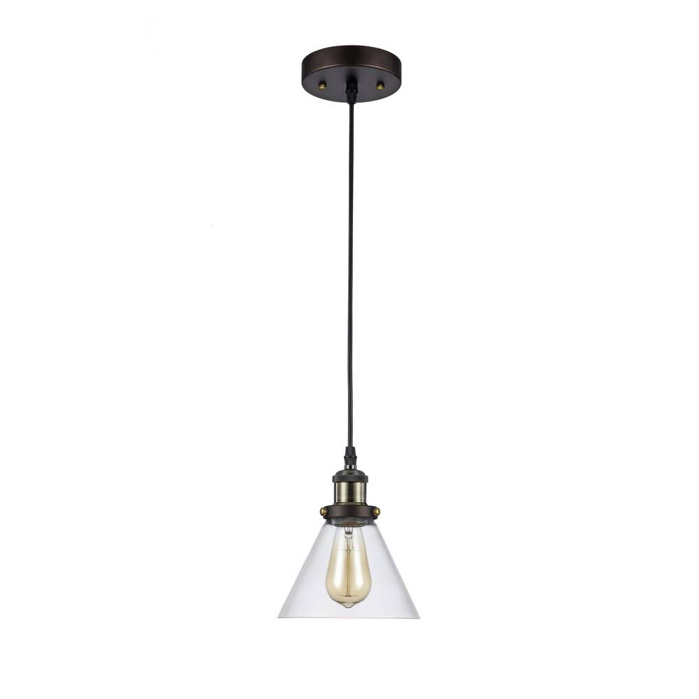 Industrial Oil Rubbed Bronze Clear Glass Cone Mini Pendant Light