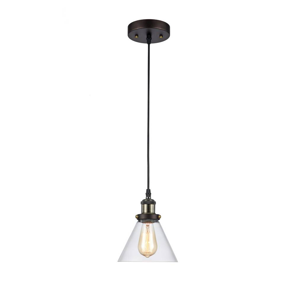 industrial glass cone shade pendant light