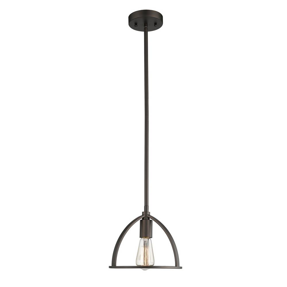 Industrial Oil Rubbed Bronze Exposed Bulb Mini Pendant Light