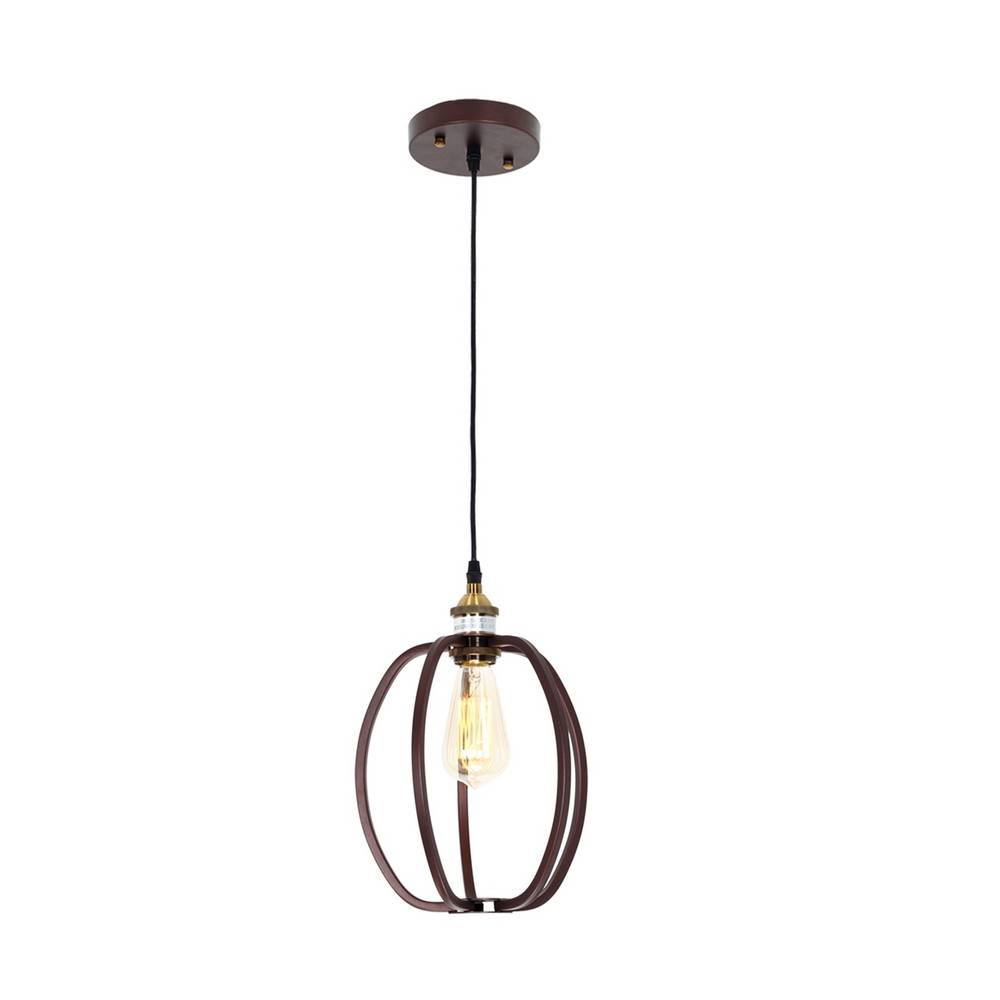 Industrial Oil Rubbed Bronze Oval Cage Mini Pendant Light