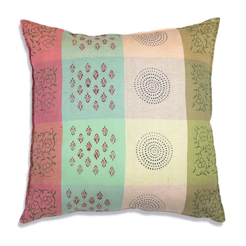Large Colorful Patterned 100% Cotton Throw Pillow