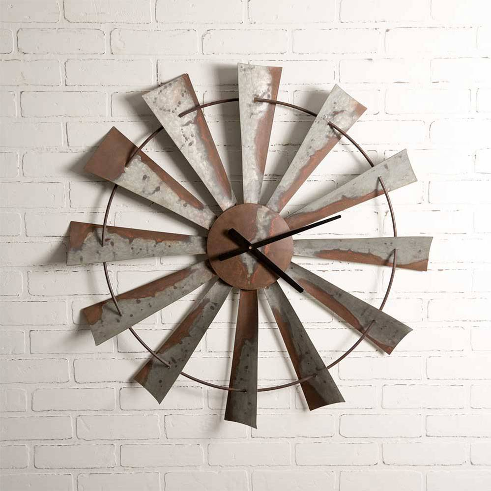 Large Farmhouse Distressed Windmill Wall Clock