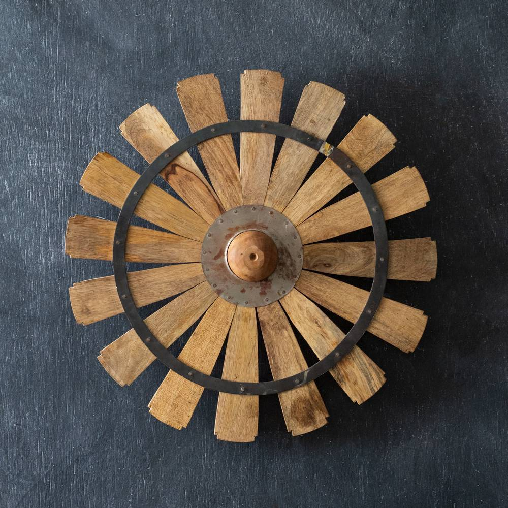Large Farmhouse Wooden Windmill Wall Decor