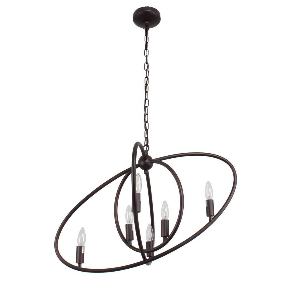 Large Industrial Oil Rubbed Bronze Tilted Oval Globe Chandelier