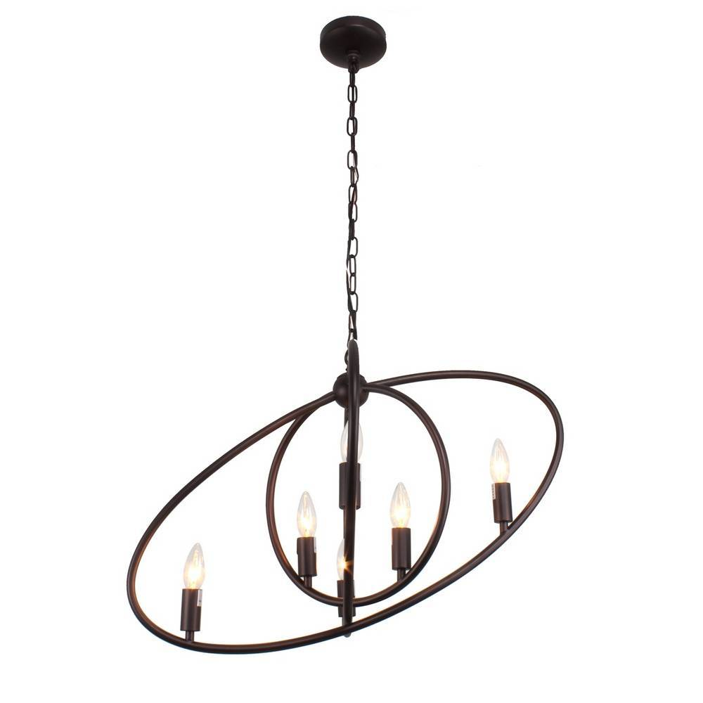 Large Industrial Oil Rubbed Bronze Tilted Oval Globe Chandelier for Dining Room