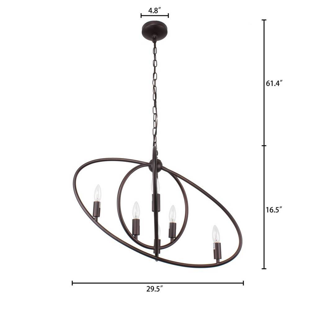 Large Industrial Oil Rubbed Bronze Tilted Oval Globe Chandelier for Kitchen