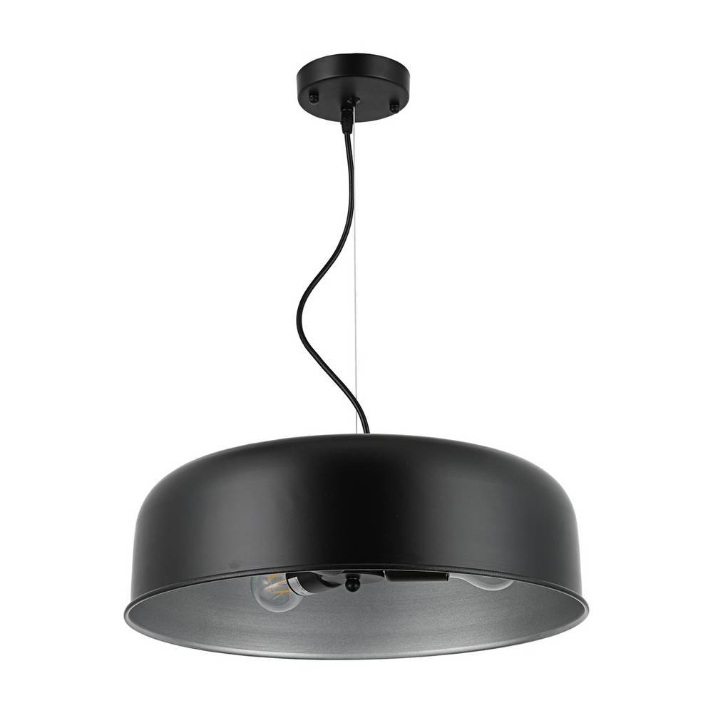 Large Modern Industrial Black & Silver Dome Pendant Light
