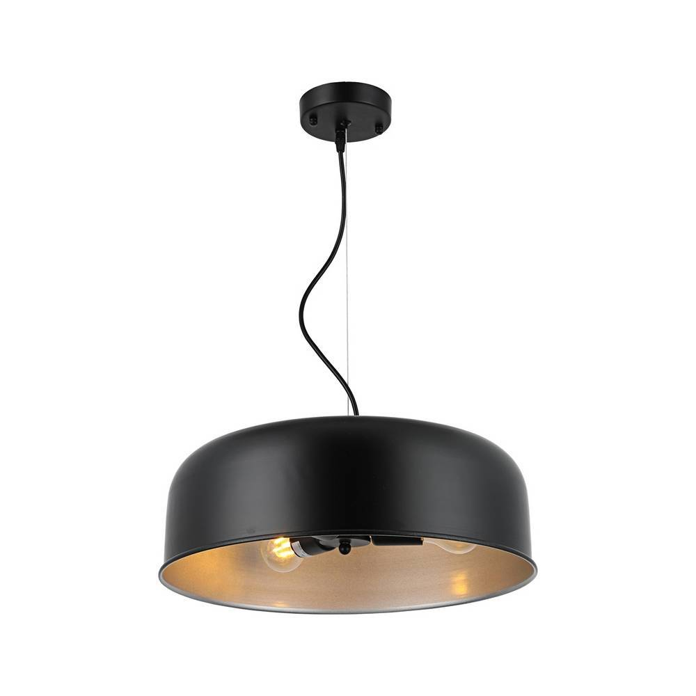 Large Modern Industrial Black & Silver Dome Pendant Lighting