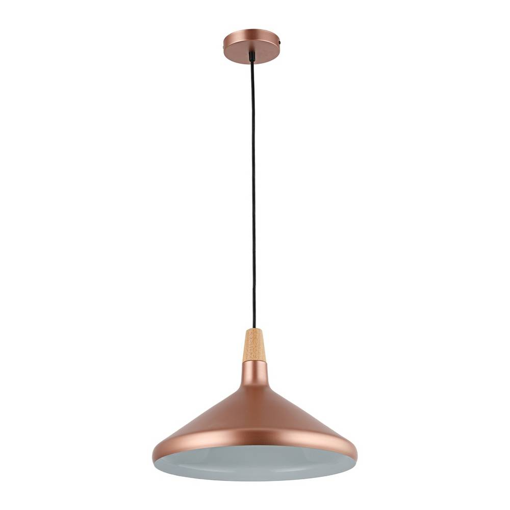 Large Modern Matte Rose Gold Cone Pendant Light
