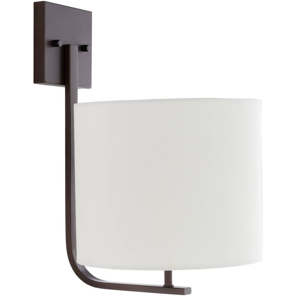 Large Modern Powder Coated Bronze Sconce with White Linen Drum Shade