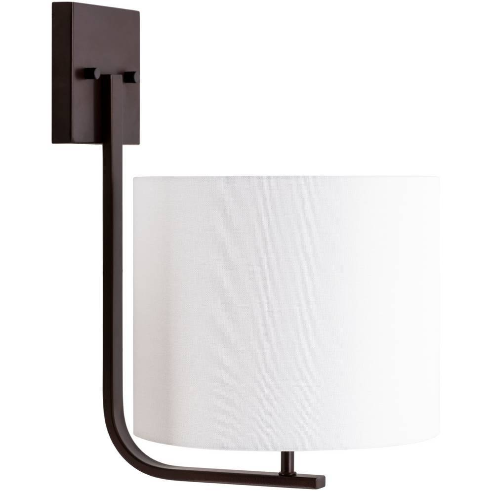 Large Modern Powder Coated Bronze Wall Sconce with White Drum Shade