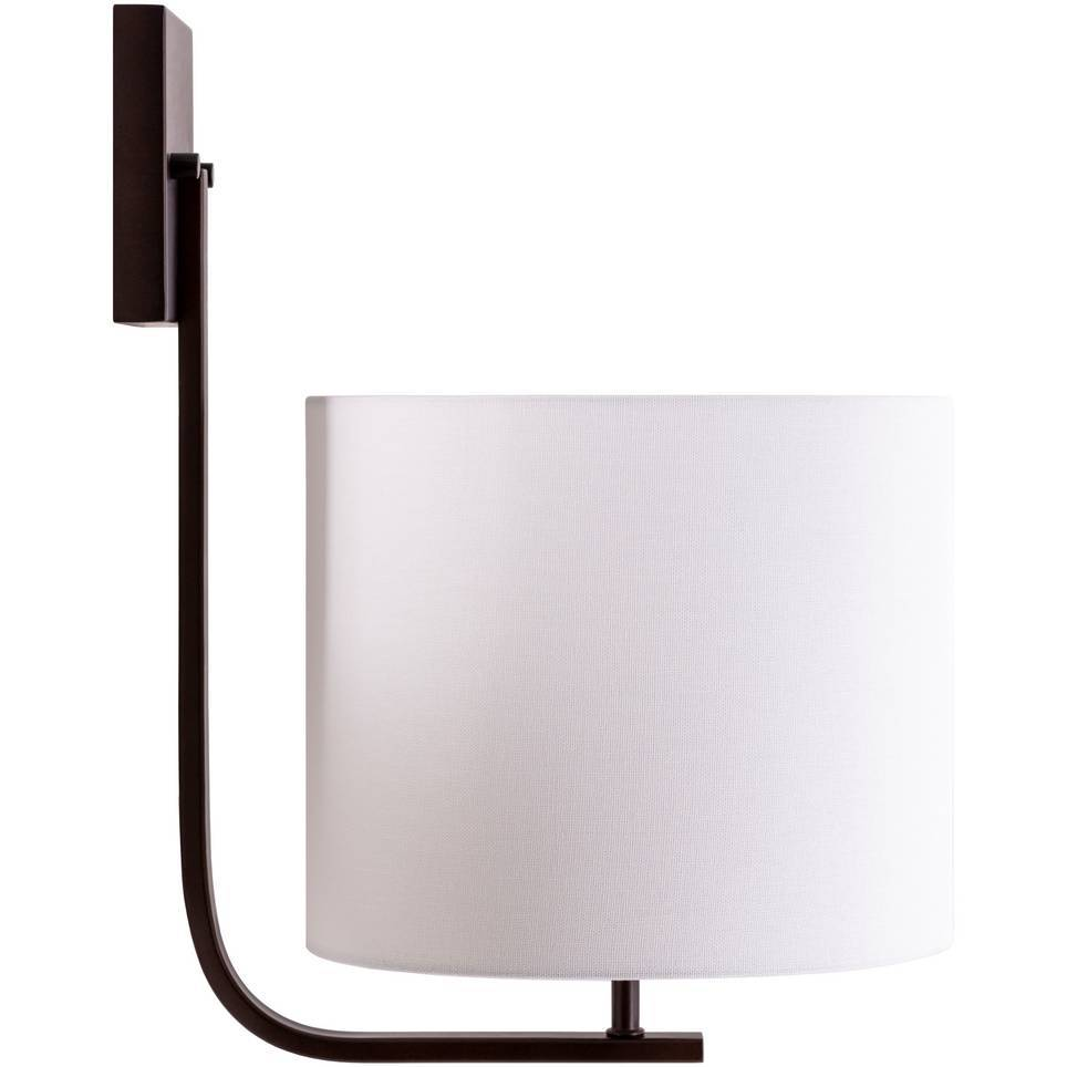 Large Contemporary Powder Coated Bronze Sconce with White Linen Drum Shade