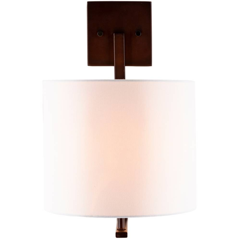 Big Modern Powder Coated Bronze Sconce with White Linen Drum Shade