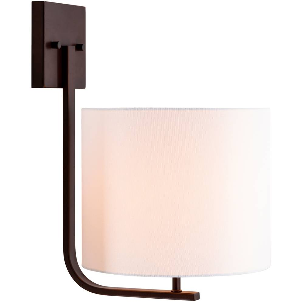 Large Modern Powder Coated Bronze Wall Light with White Linen Drum Shade