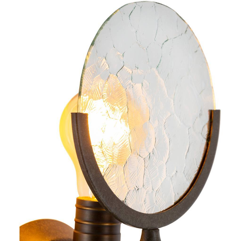 glass disc exposed bulb wall sconce