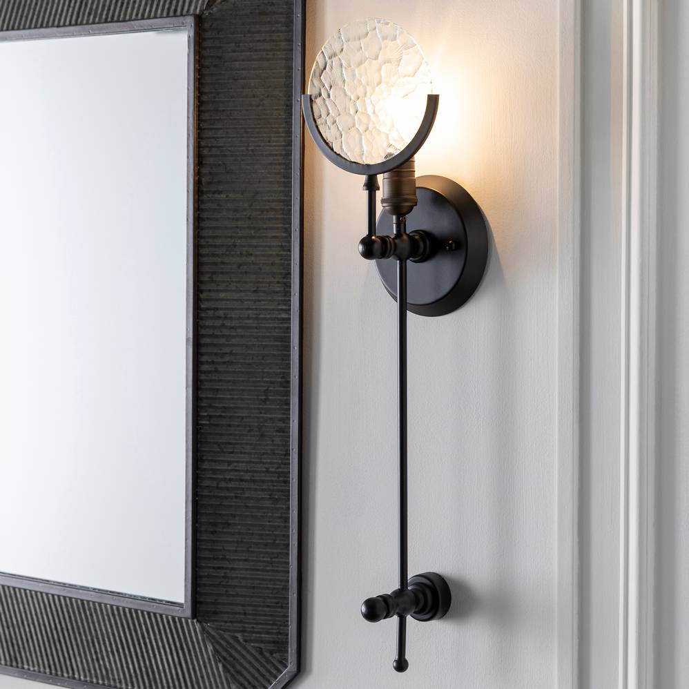 Long Mid-Century Contemporary Black Metal & Textured Glass Exposed Bulb Wall Sconce