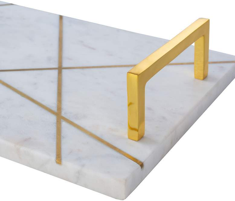 100% marble tray with gold handles