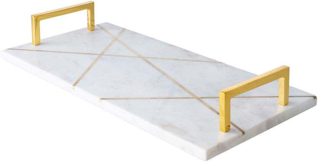Luxurious White and Gold 100% Marble Decorative Tray