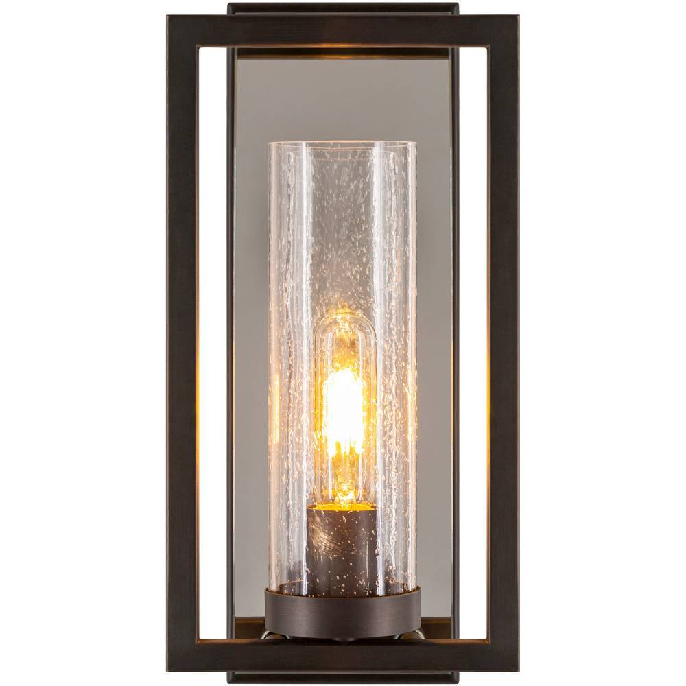 Mid-Century Modern Bronze & Silver Seeded Glass Cylinder Wall Sconce