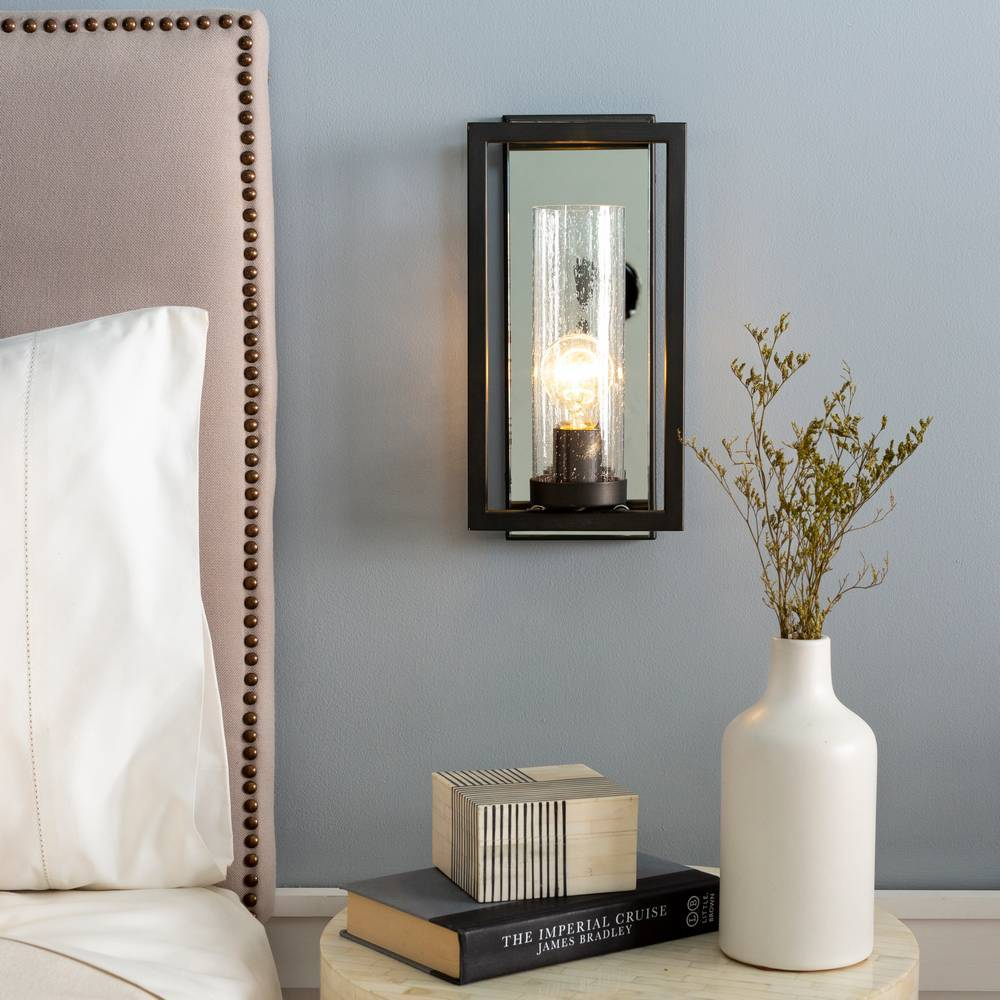 Mid-Century Modern Bronze & Silver Seeded Glass Cylinder Wall Lighting