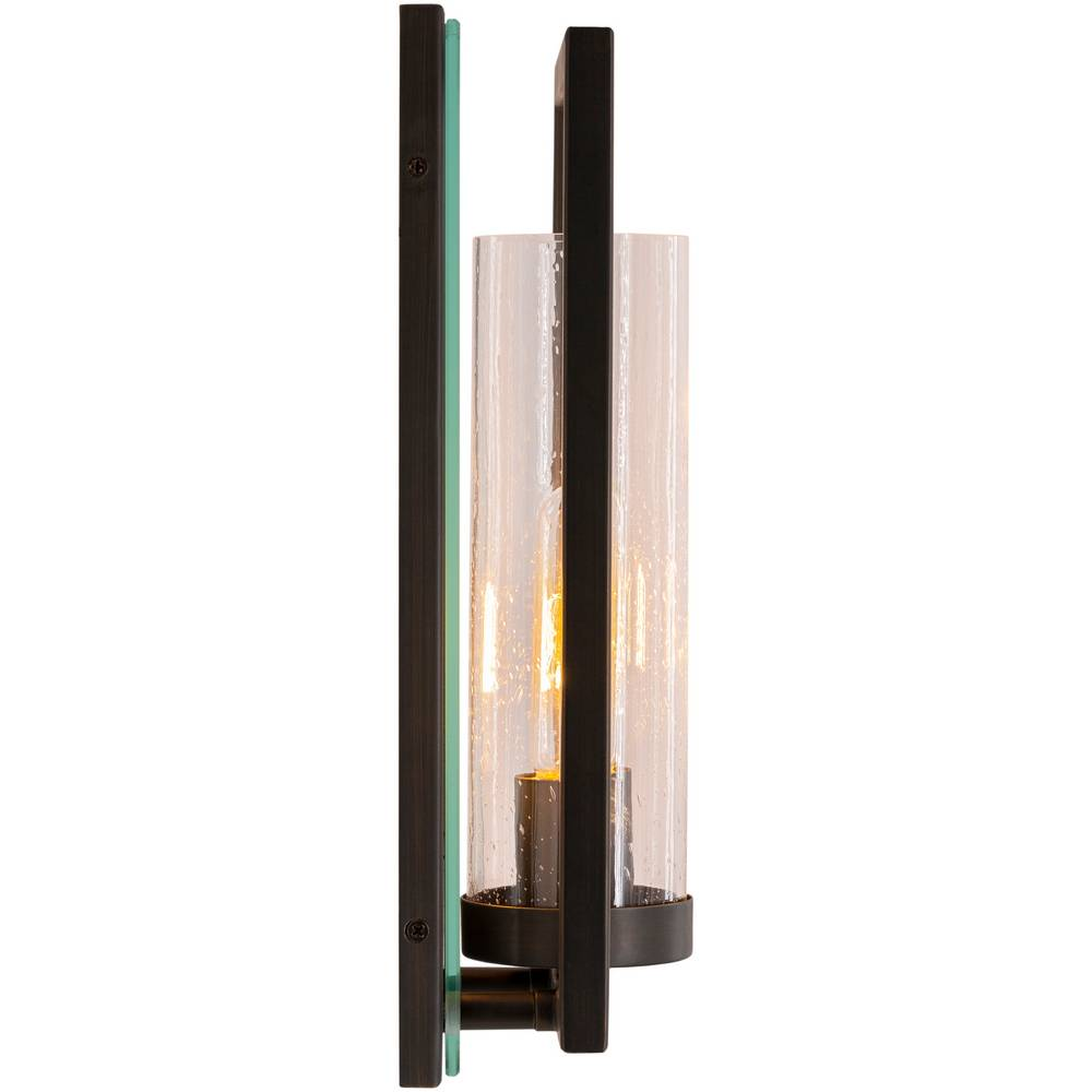 seeded glass cylinder wall sconce