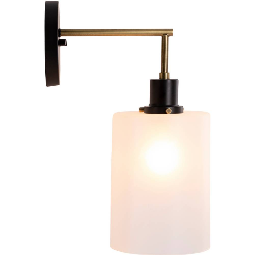 modern black white frosted glass wall sconce