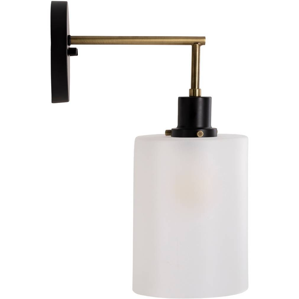 black brass white frosted drum glass sconce