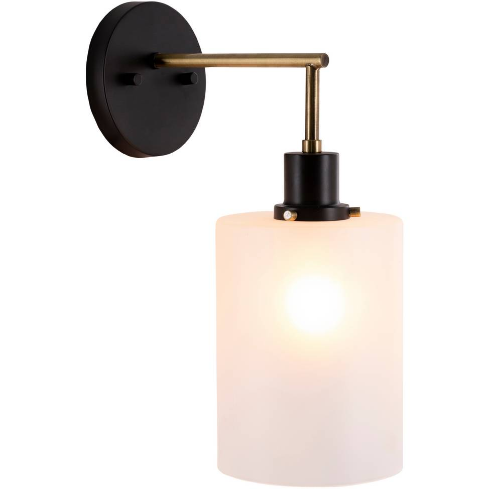 Contemporary Black, Brass, & Brushed Gold Wall Light with White Frosted Glass Shade