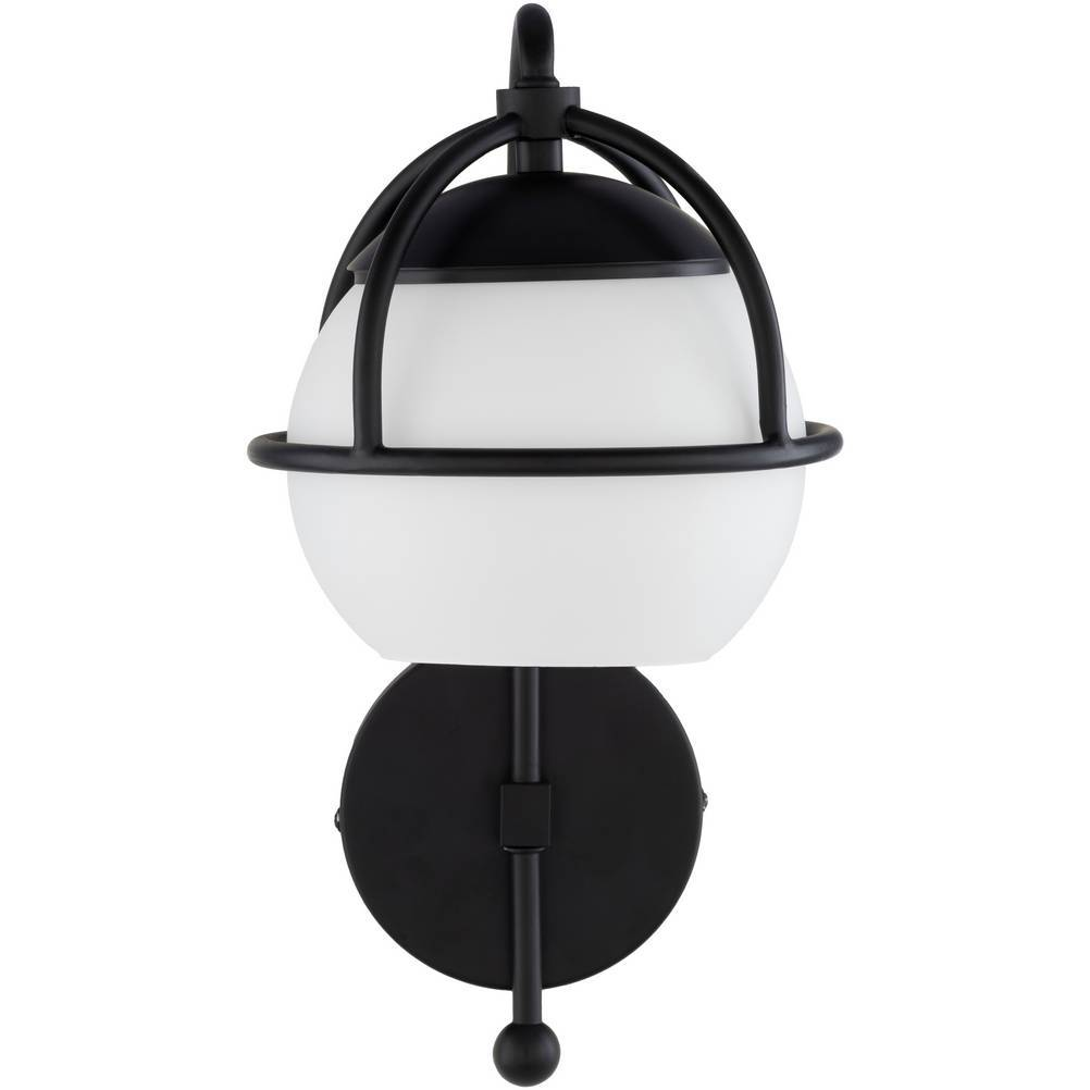 Modern Black Metal White Frosted Glass Globe Sconce