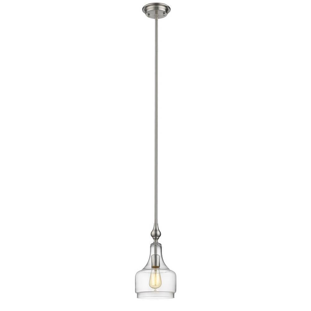 Modern Brushed Nickel Clear Glass Bell Jar Mini Hanging Light