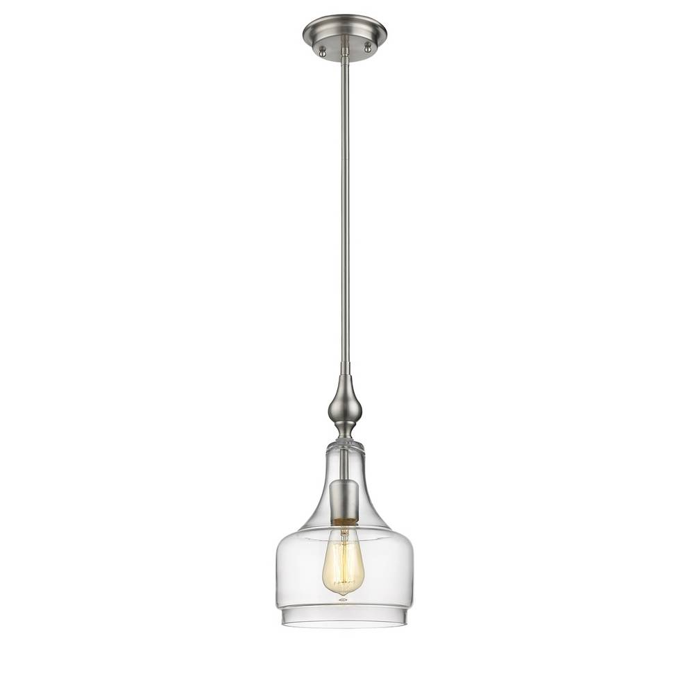Modern Brushed Nickel Clear Glass Bell Jar Mini Pendant Lighting