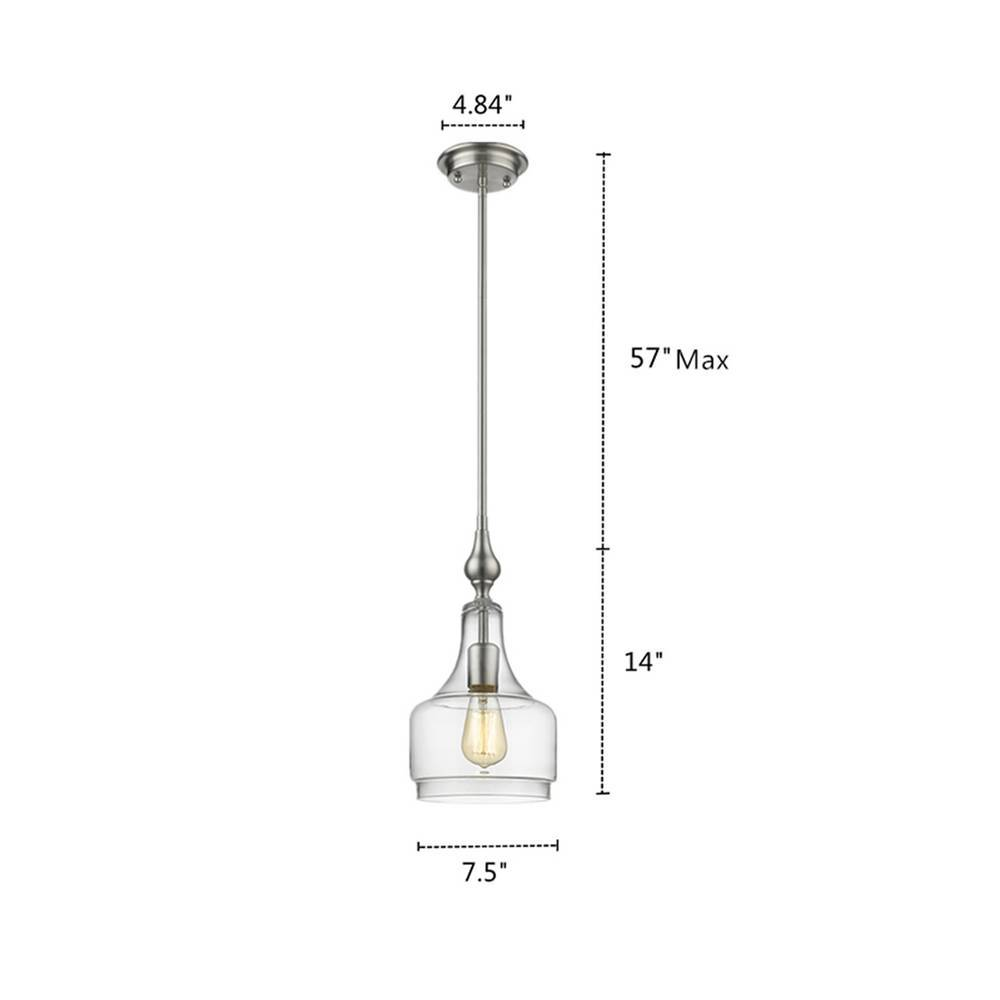Contemporary Brushed Nickel Clear Glass Bell Jar Small Pendant Light