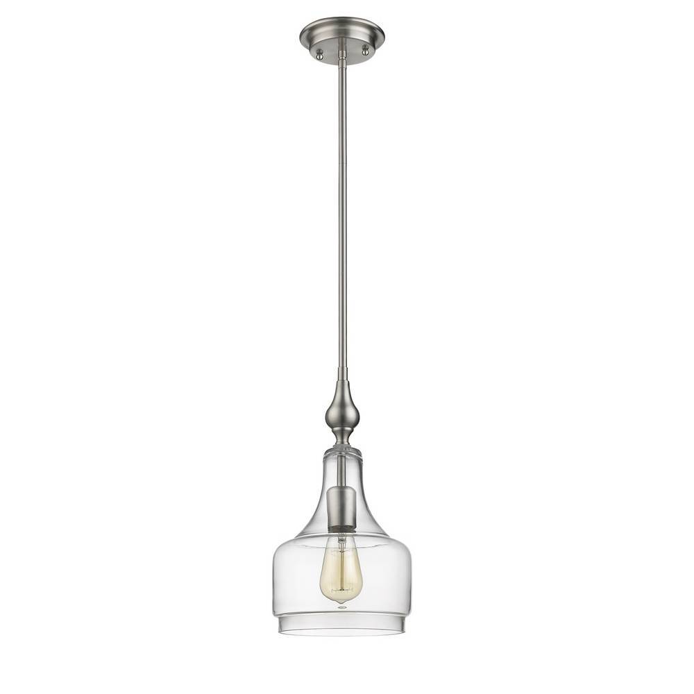 Modern Brushed Nickel Clear Glass Bell Jar Mini Pendant Light