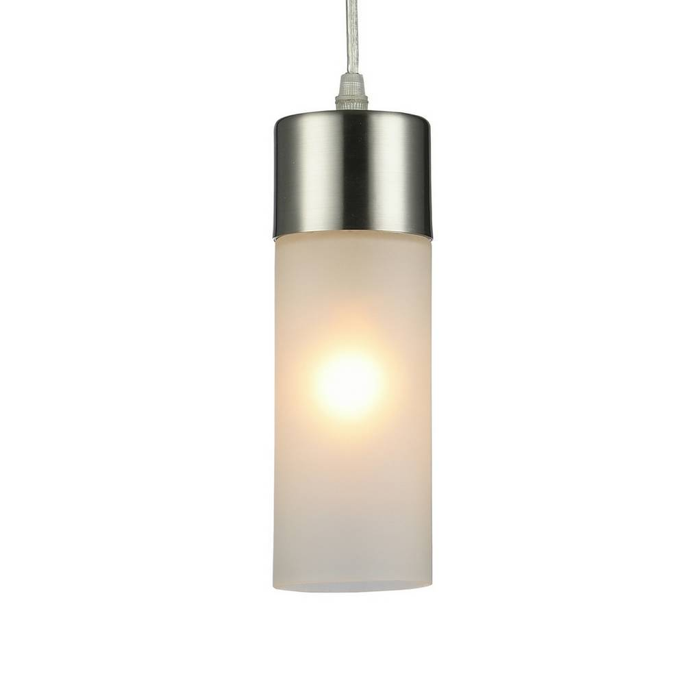 Modern Brushed Nickel Frosted Glass Cylinder Mini Pendant Light