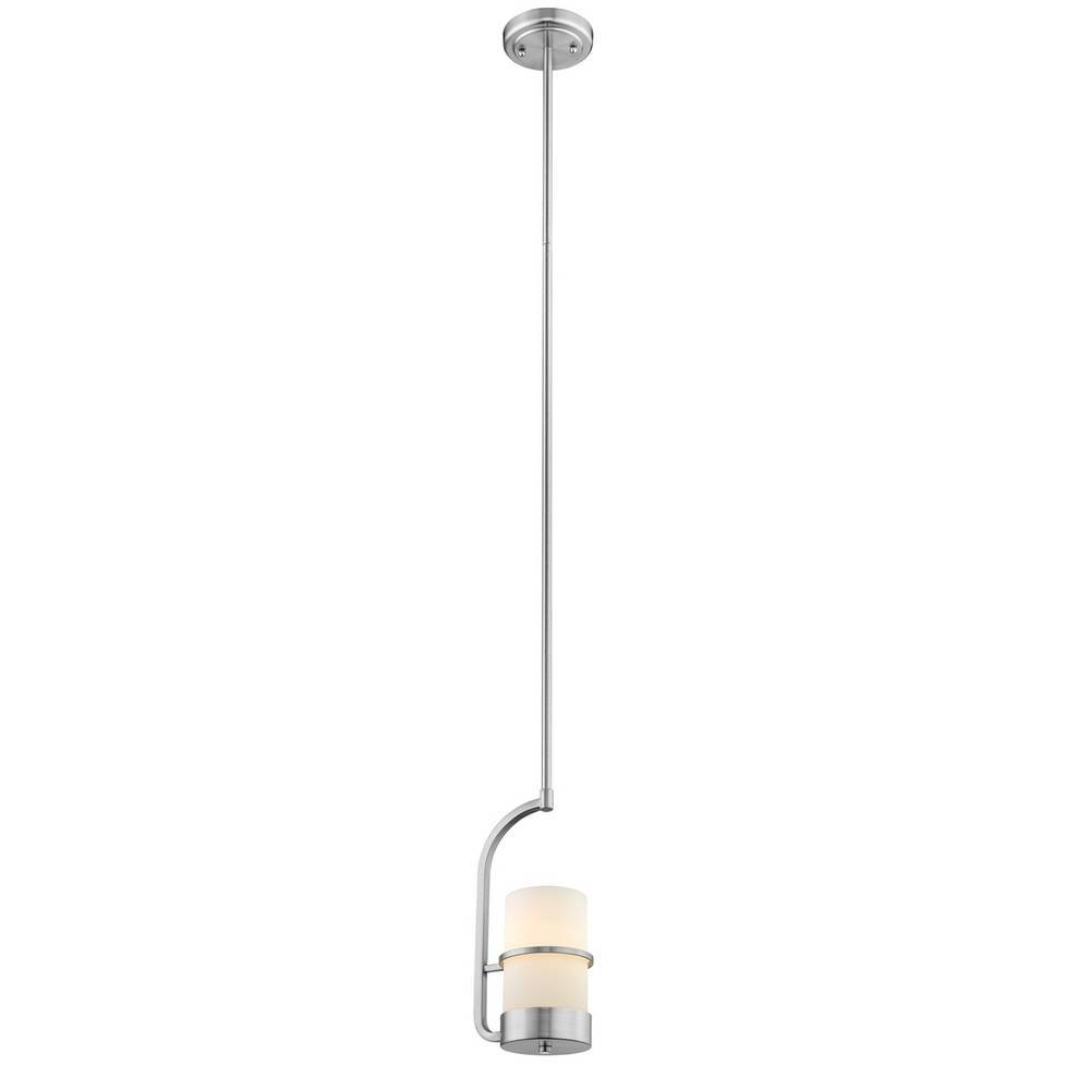 Modern Brushed Nickel White Frosted Glass Cylinder Mini Hanging Light
