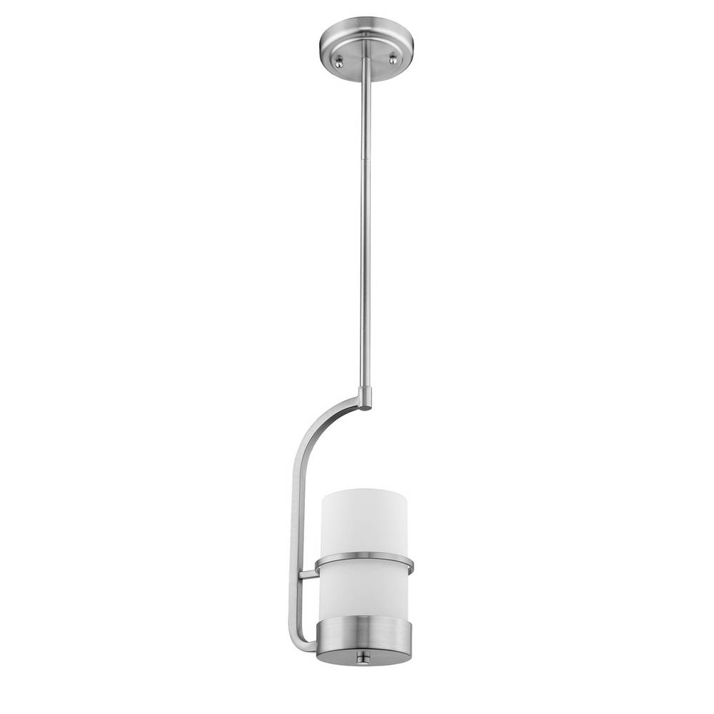 Modern Brushed Nickel White Frosted Glass Cylinder Mini Pendant Light