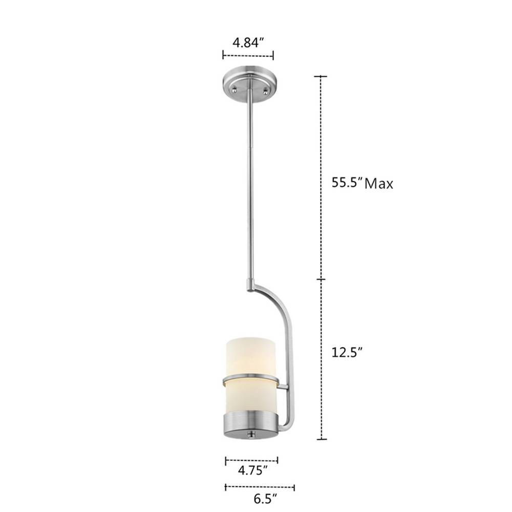 Contemporary Brushed Nickel White Frosted Glass Cylinder Small Pendant Light