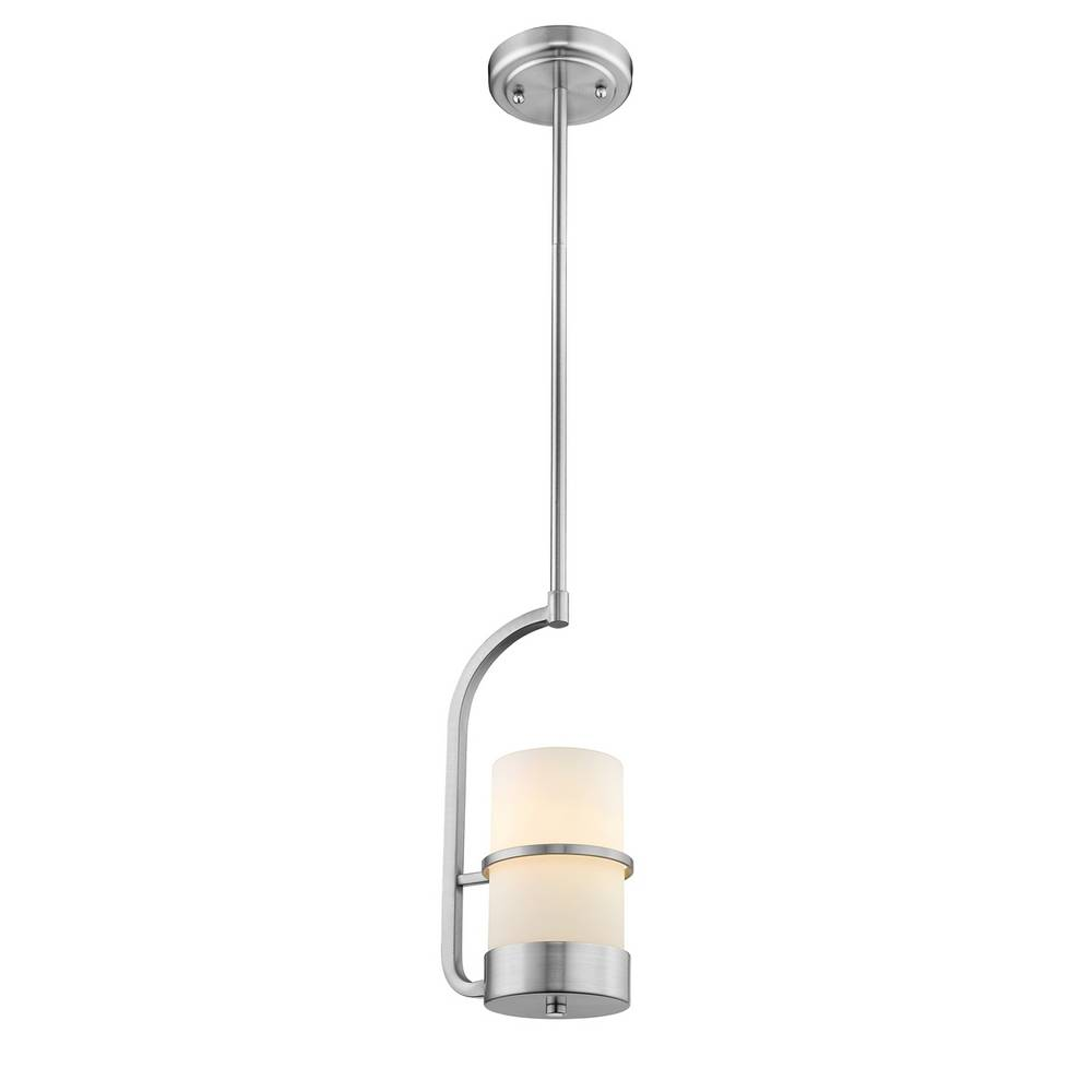Modern Brushed Nickel White Frosted Glass Cylinder Mini Pendant Lighting