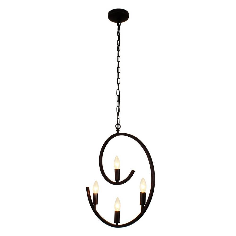 Modern Farmhouse Oil Rubbed Bronze Spiral Hanging Light