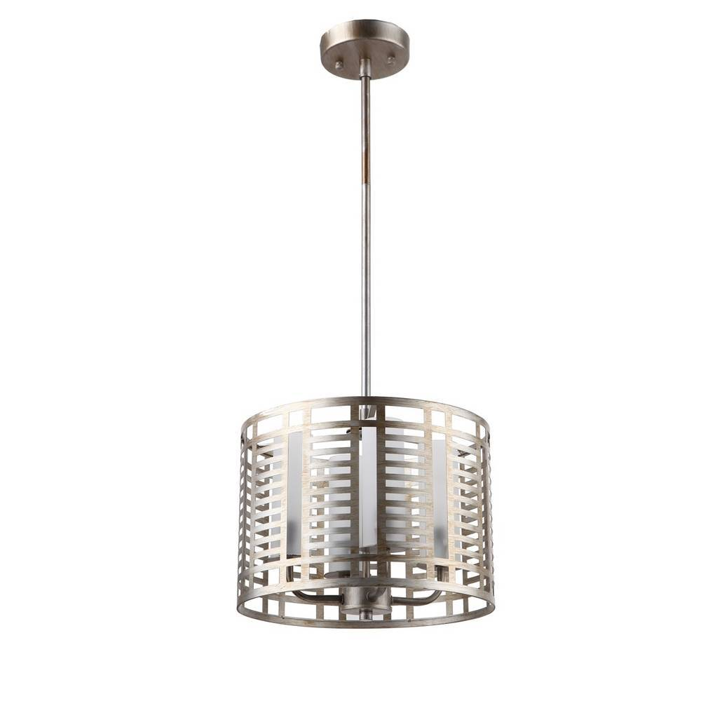 Modern Industrial Chrome Cage Drum Chandelier