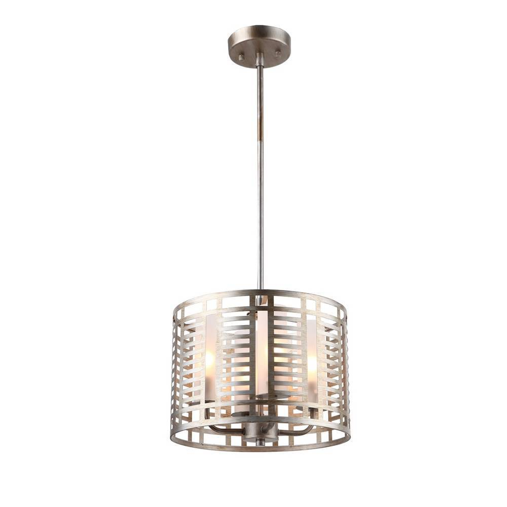 Modern Industrial Chrome Cage Drum Pendant Light