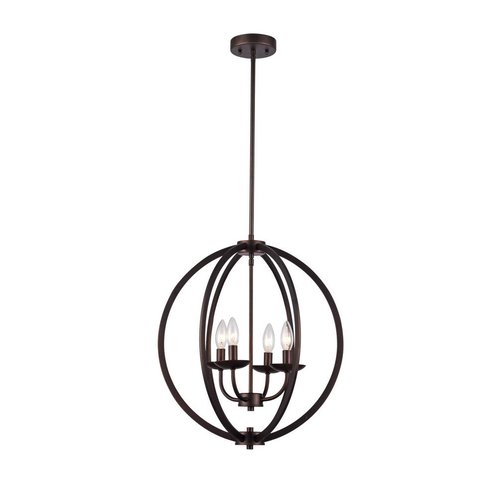 Modern Industrial Oil Rubbed Bronze Cage Globe Pendant Light