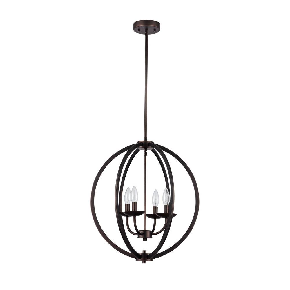 Modern Industrial Oil Rubbed Bronze Cage Globe Chandelier