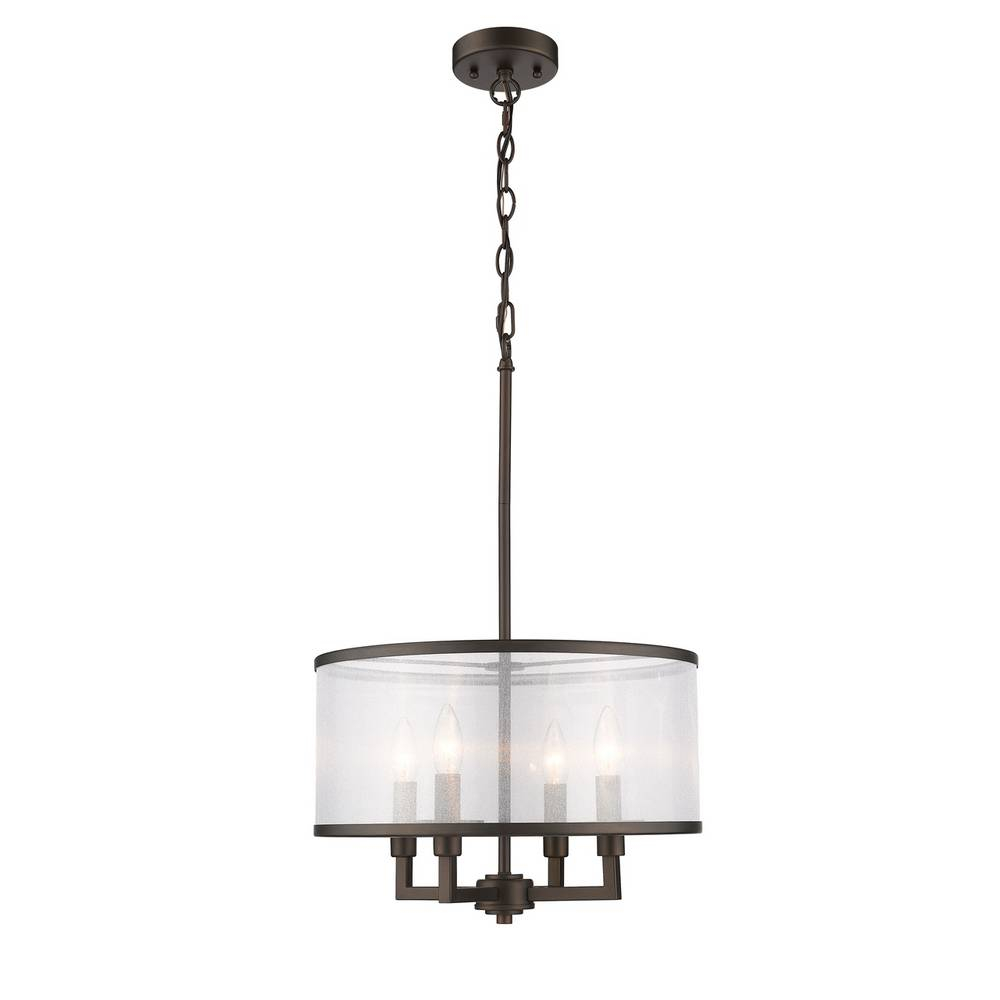 Modern Industrial Oil Rubbed Bronze Drum Pendant Light
