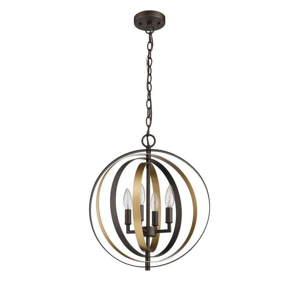 Modern Industrial Oil Rubbed Bronze & Gold Globe Chandelier for Dining Room