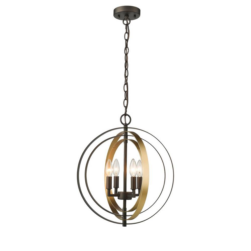 Modern Industrial Oil Rubbed Bronze & Gold Globe Pendant Light