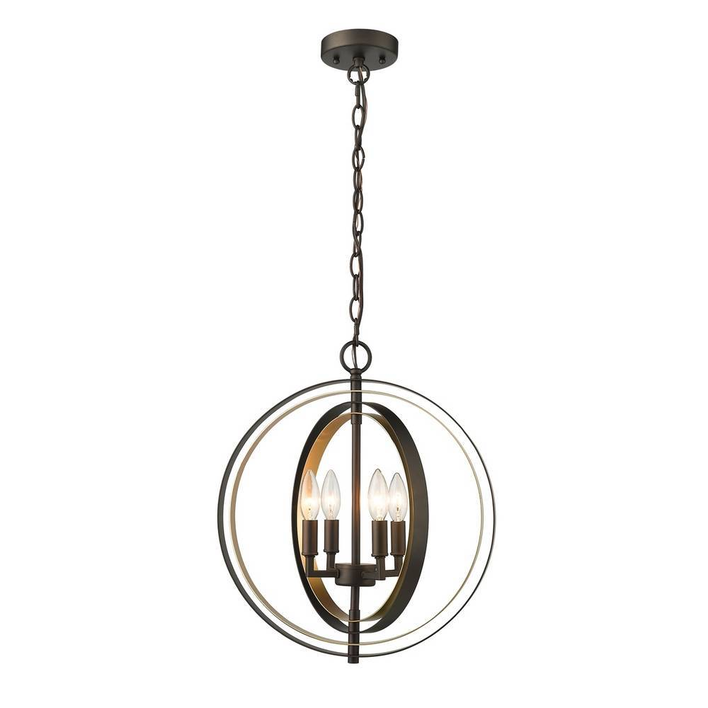 Modern Industrial Oil Rubbed Bronze & Gold Globe Chandelier
