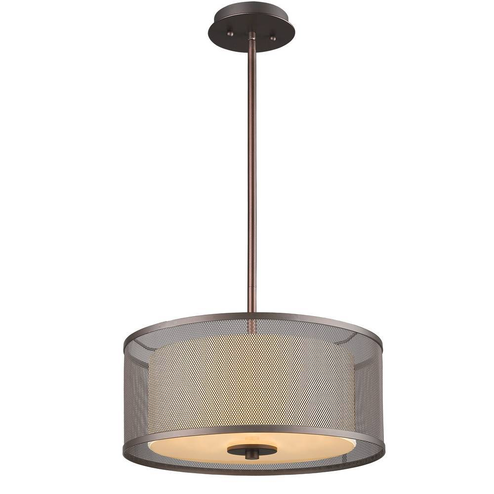 Modern Industrial Oil Rubbed Bronze Mesh Cage Drum Pendant Lighting