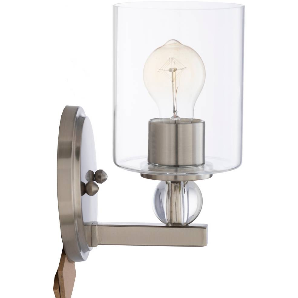 Modern Nickel and Crystal Accented Glass Tube Sconce